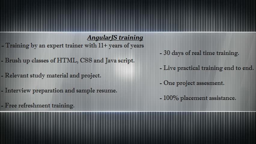 AngularJS virtual classroom training in Hyderabad and United