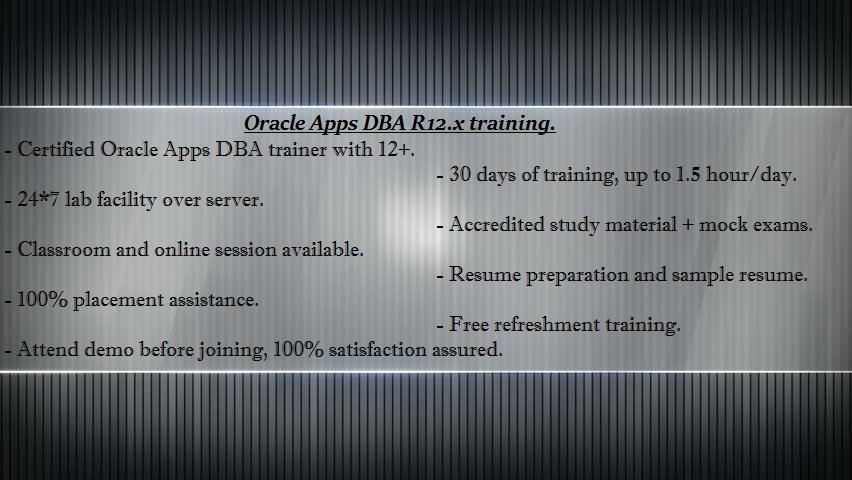 oracle apps dba virtual classroom training in hyderabad